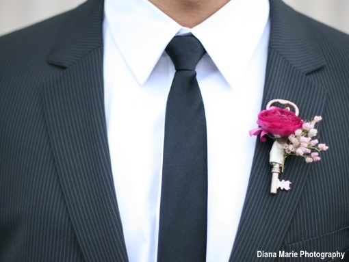 Key -- Planning a vintage-themed wedding? Adding a vintage key to your boutonniere will be the perfect detail!