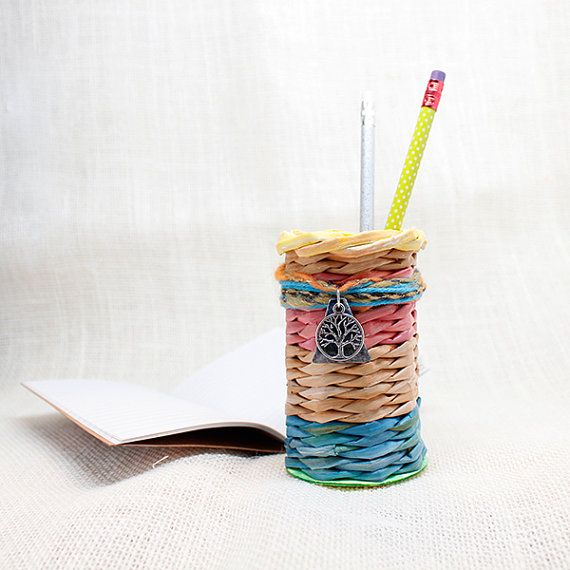 Tree of Life Pencil Holder - Woven from Newspaper -  made by PurpleDotBoutique on Etsy, $12.00