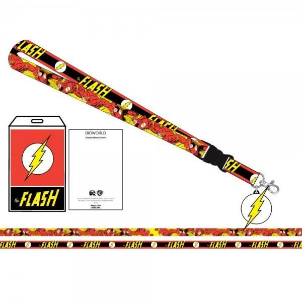 DC Comics The Flash Logo/Character Lanyard Charm ID Holder NEW Licensed