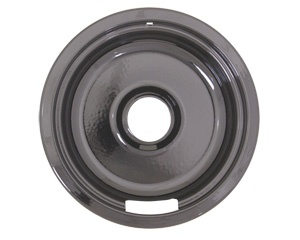 8 in black porcelain drip bowl unhemmed drip pan has unhemmed elox for plug in elements with rounded bottom fits most ge and hotpoint
