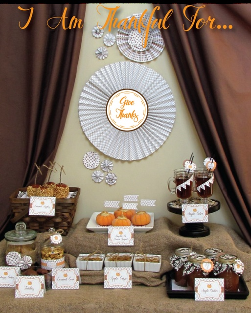 "what a great idea....a ""Give Thanks"" Fall party.Dessert Tables, Ideas Parties, Fall Parties, Buffets Tables, Parties Desserts, Thanksgiving Desserts, Thanksgiving Tables, Desserts Tables, Desserts Buffets"