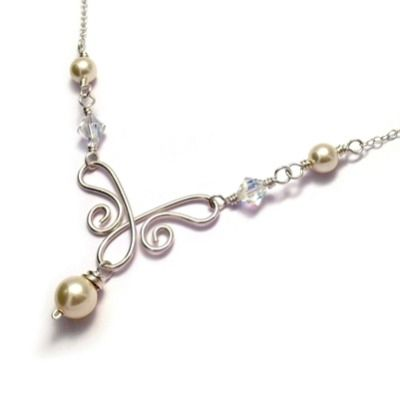 Swarovski Pearl & Crystal Sterling Silver Wirework Bridal Necklace  - Handmade Wedding Jewellery