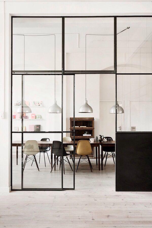 Steel frame & glass divider