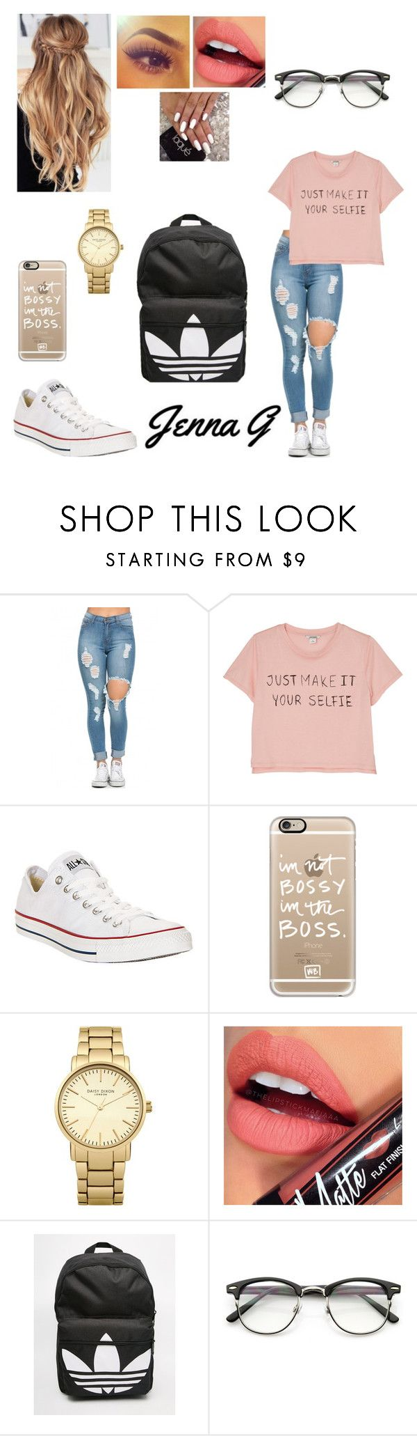 """""""Second Day of School"""" by iamjennagarcia on Polyvore featuring Monki, Converse, Casetify, Topshop, Fiebiger and adidas"""