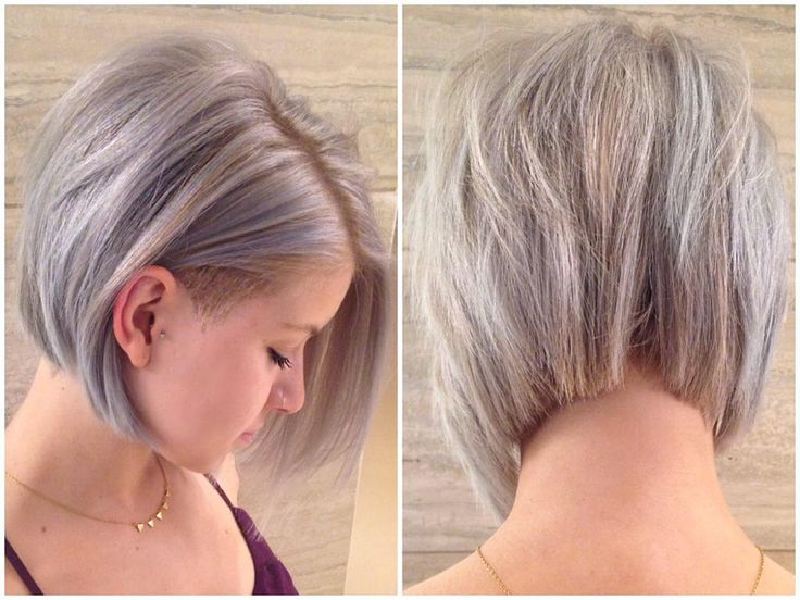 """""""Never even put up my favourite silver/haircut combo. Undercut short textured bob with silver highlights! My favourite colour on @tayburke yet (and we've…"""""""