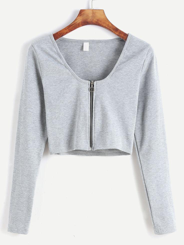 Camiseta corta con cremallera - gris claro-Spanish SheIn(Sheinside)