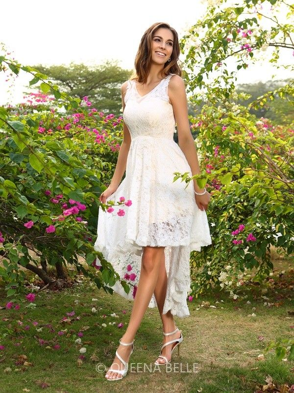 A-Line/Princess V-neck Lace Sleeveless Asymmetrical Bridesmaid Dresses