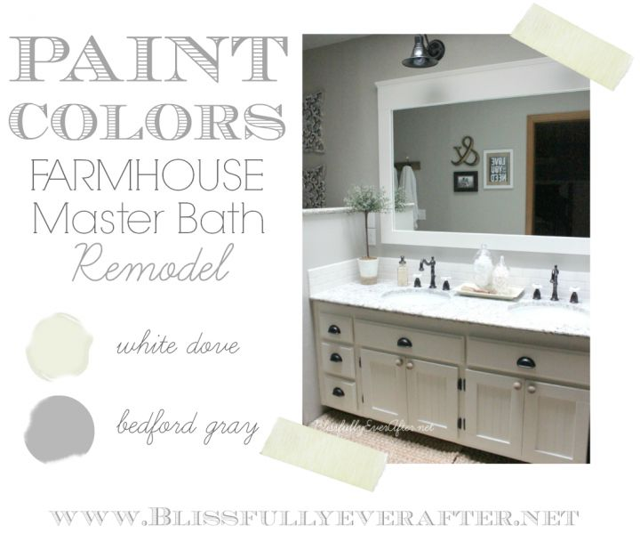 Master-Bathroom-Paint-Colors: Bathroom Paintings Colors, Gray Paint Colors, Gray Paintings Colors, Farmhouse Bathrooms, Master Bathrooms, Bathroom Resources, Bathroom Paint Colors, Master Bathroom Remodel, Cabinets Doors