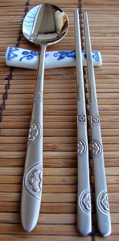 Korean rice spoon and chopsticks.