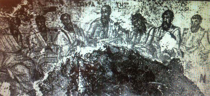 Socrate con i sei filosofi. Mosaico, IV secolo, Apamea, Siria