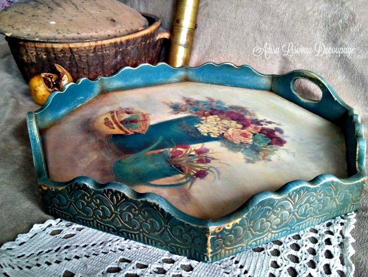 vintage serving tray shabby chic handmade by Adisa Lisovac Decoupage