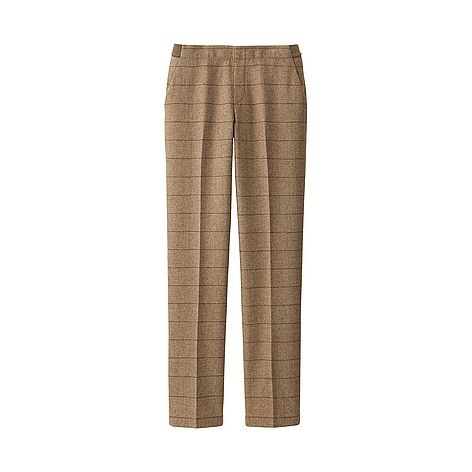 WOMEN Windowpane Check Tweed Trousers