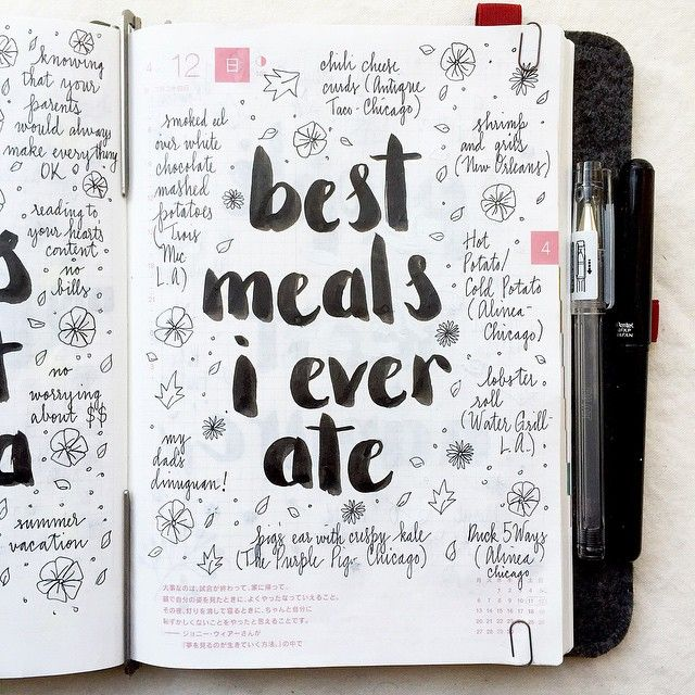 Travel journal: best meals you ever ate   where. Or, you just write down where you ate on your trip, what you had, and what the food was like (regardless of whether it was good), so you'll know for next time.