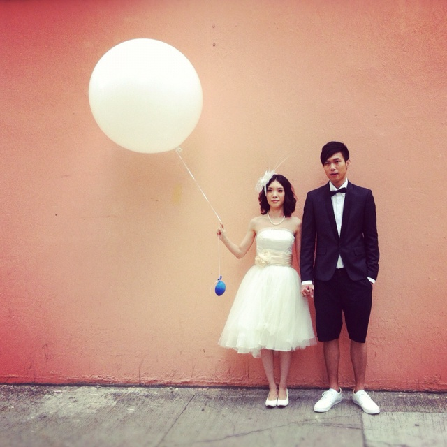 Prewedding photos of katy & mike! Short gown is very cute