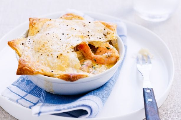 Seafood mornay pies.  [Marinara mix usually includes mussels, fish pieces, prawns and squid rings but any mix of favourite fish will do].  Fish + asparagus is nice.  Alt. recipe here: https://www.woolworths.com.au/Shop/Recipes/meal-types/lunch?name=fish-asparagus-mornay&recipeId=2163