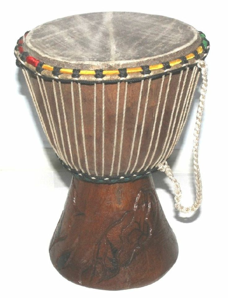 African Bongo Drum From Senegal -- Camel Hide/Teak Wood - Handcrafted - New