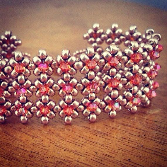 Armadura de este pulso, pulsera de pun ¢ o moldeado de cristal de Rocallas de cristal oro claro y naranja rosa Swarovski cristales de topacio y