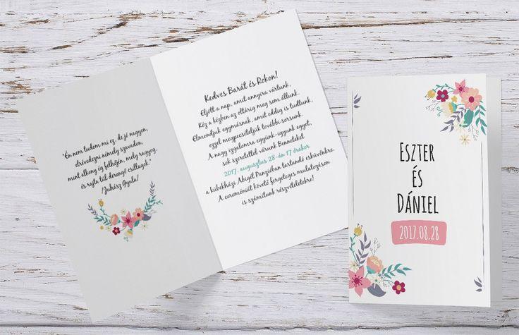 Vintage esküvői meghívó, grafikus esküvői meghívó - vintage wedding invitation, graffic wedding invitation