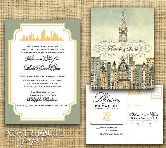 Philadelphia City Hall Wedding Invitation by PowerhousePaper, $3.75