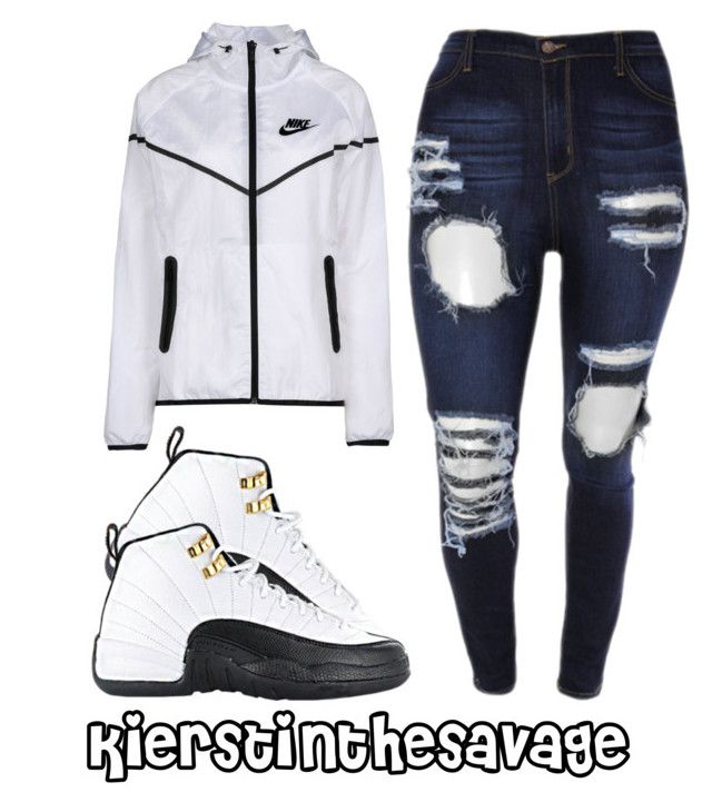 """."" by kierstinthesavage ❤ liked on Polyvore featuring TAXI, NIKE, jeans, nike and AirJordan"