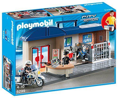 Playmobil – 5299 – Commissariat de police transportable: Appel d'urgence ! Avez- vous repéré le voleur ? Contenu : – Le commissariat – 3…