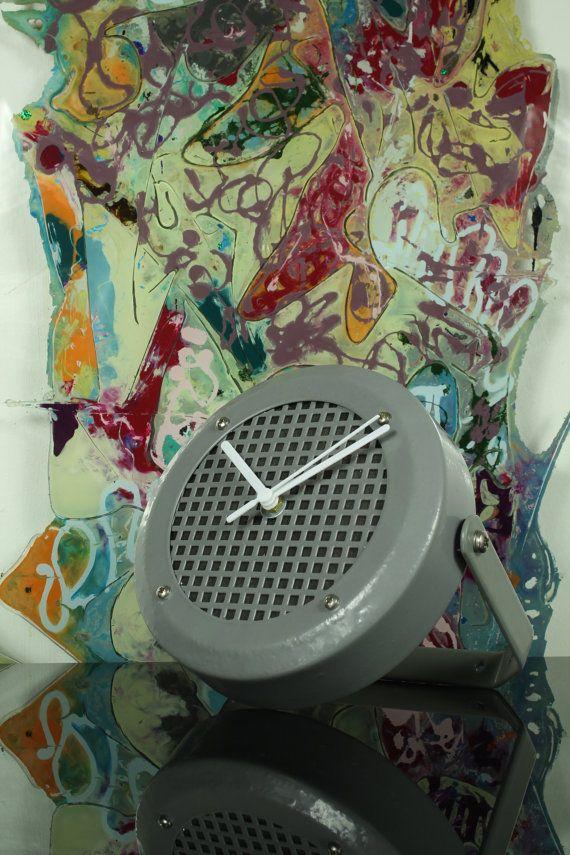 Upcycled designer industrial modern grey gray metal clock - Silent sweeping mechanism