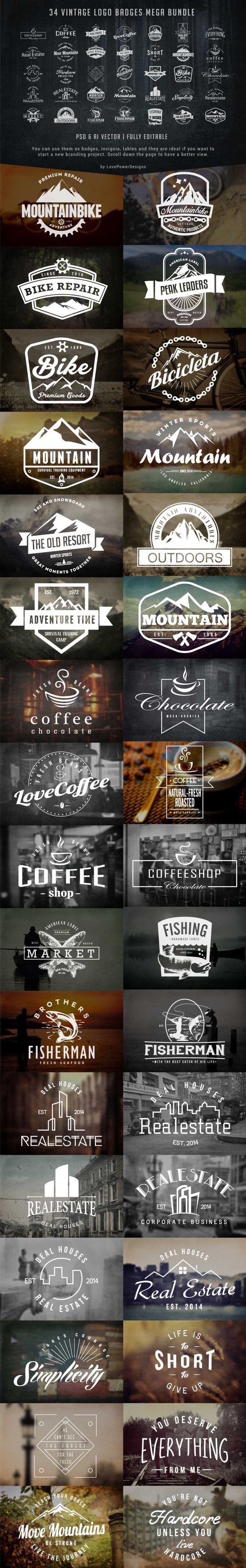 Vintage Logo Badges Bundle by lovepower on Creative Market