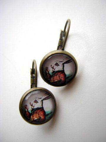 White Rabbit Earrings - Bronze