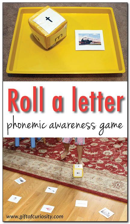 Roll a letter phonemic awareness game {101 ways to teach the alphabet} - a simple game for helping kids learn the sounds letters make and recognize the first sounds of words || Gift of Curiosity