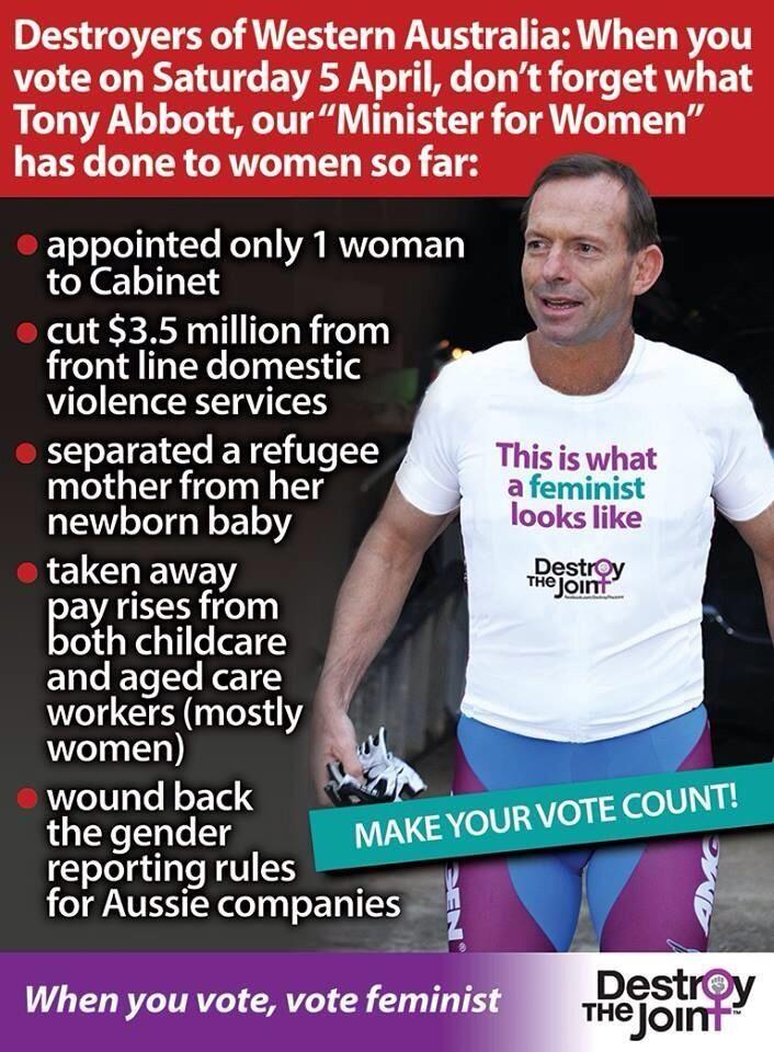 Vote for all women in WA Saturday 5th April.