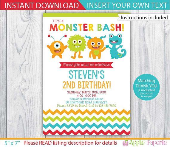 monster invitation / little monster invitation / 1st birthday monster invitations / monster invite / monster printable / INSTANT DOWNLOAD by ApplePaperie