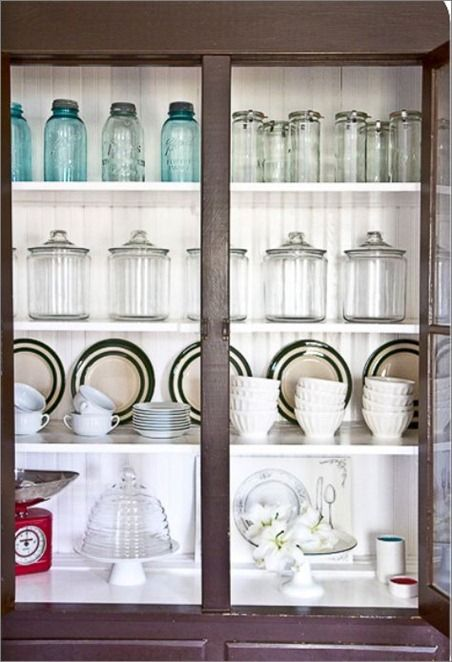 Paint The Inside Of A Dark Hutch White To Make Your Collection Glass And Plates Pop