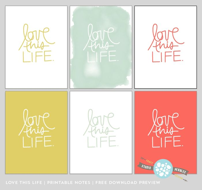 Free Printable Love This Life Note Cards