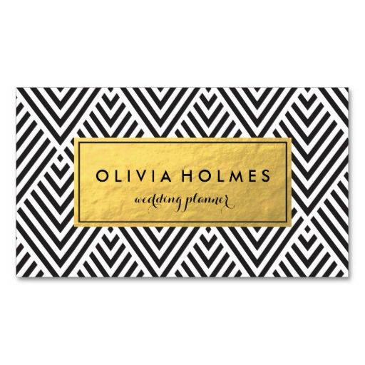 Faux gold foil pattern in a modern chevron pattern on this business card perfect for cosmetologists, hair stylists, makeup artists, wedding planner, stylist.