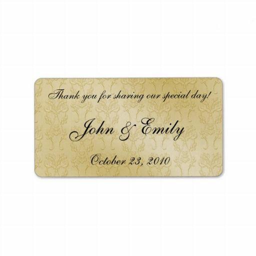 Gold Damask Wedding Favor Labels Personalized Address Label