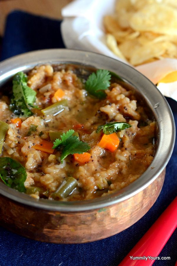 Authentic Karnataka Bisi Bele Bath - A delightful mix of perfectly spiced rice with lentils and vegetables;an all time favorite in Southern India