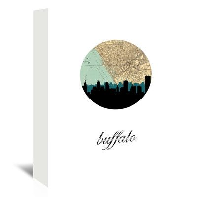 "East Urban Home Buffalo Map Skyline Graphic Art on Wrapped Canvas Size: 30"" H x 24"" W x 1.5"" D"