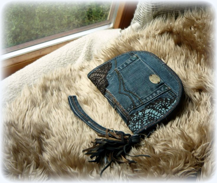 Handmade by Judy Majoros - Denim chrochet wallet-clutch with leather fringe. Recycled wallet-bag.