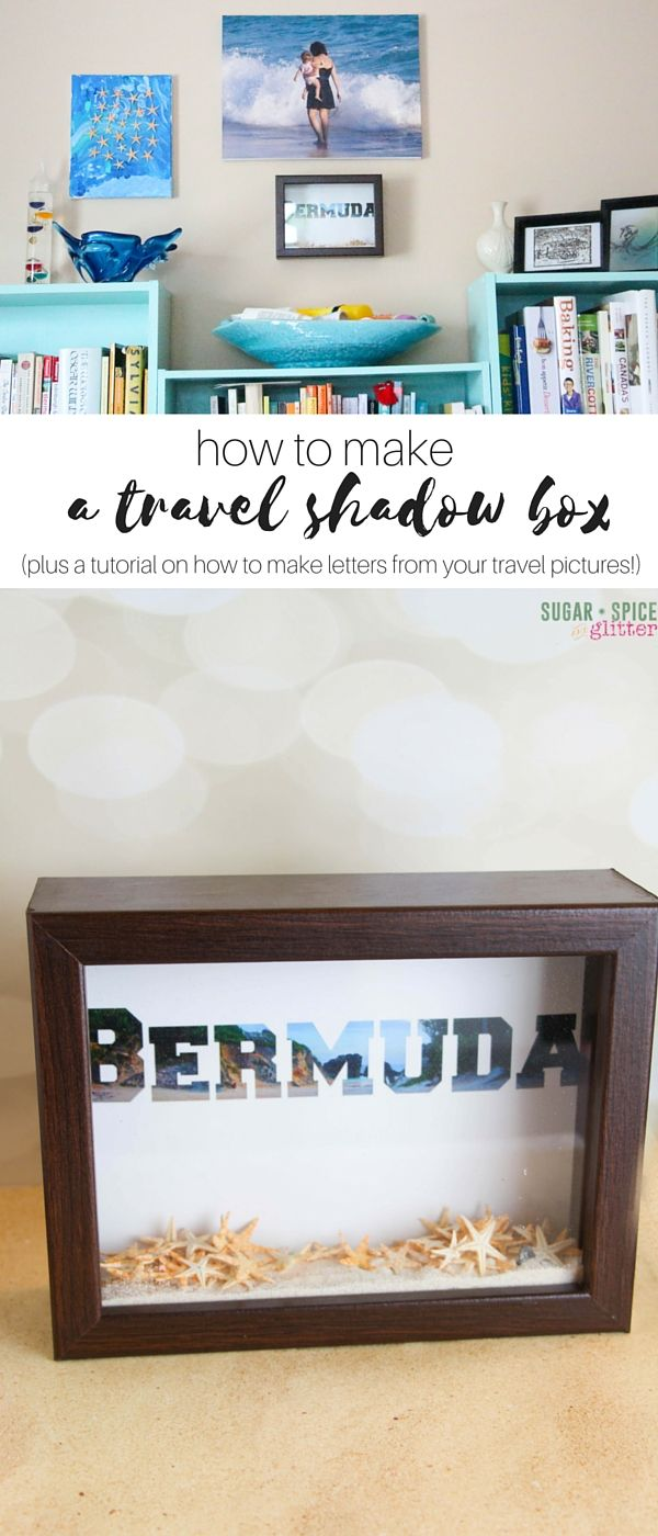 Learn how to make a DIY travel shadow box! Use your souvenirs to help display your summer trip! Try the tutorial for making letters from your pictures. This is a fun craft to cherish.