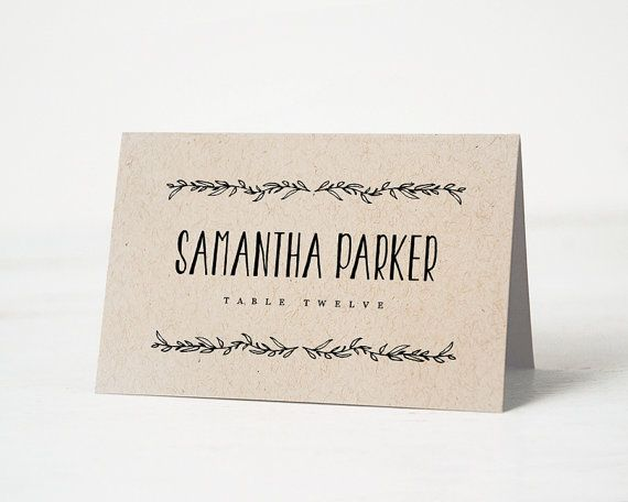Printable place card template Wedding place cards Editable
