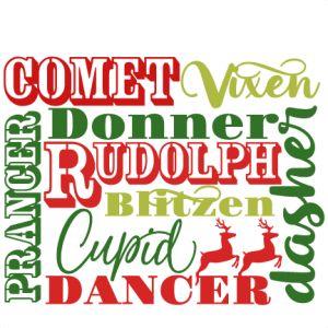 Reindeer Names SVG scrapbook cut file cute clipart files for silhouette cricut pazzles free svgs free svg cuts cute cut files
