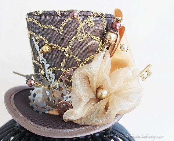 Steampunk Mini Top Hat, sombrero marrón, Steampunk Cosplay, traje Steampunk, Steampunk pelo accesorios, Mini sombrero de mujer, fascinador de las mujeres