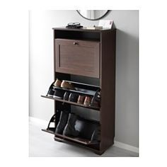 IKEA - BRUSALI, Shoe cabinet with 3 compartment, white, , Helps you organize your shoes and saves floor space at the same time.You can easily adjust the space in the shoe compartments by moving or taking away the dividers.In the shoe cabinet your shoes get the ventilation and the space they need to keep them like new longer.