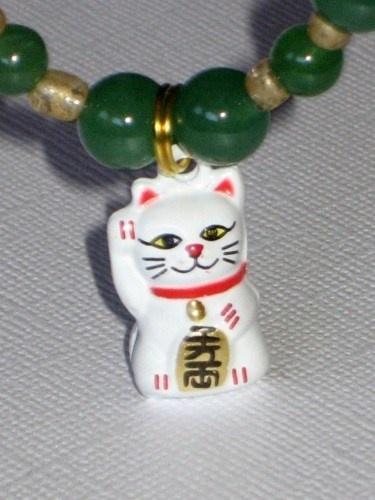 Good Luck Bracelet with Maneki Neko Lucky Kitty Charm and Aventurine | StarlightSarah - Jewelry on ArtFire