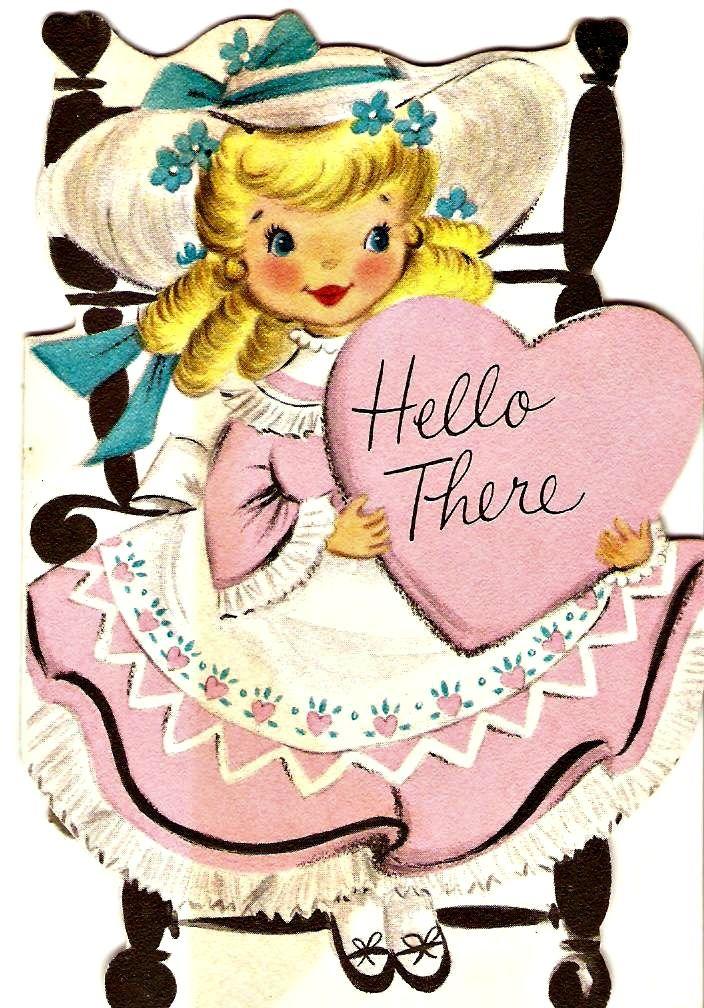 polish greeting cards vintage | Vintage Hallmark Greeting Card Sweet little girls 1950s cuteness