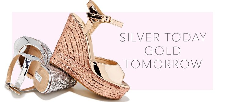 METALLIC ESPADRILLE WEDGE HEEL. The LINA by Lauren Lorraine. Polished metallic straps are grounded on a shimmery metallic braided wedge heel. It's a lightweight and lofty espadrille heel to pair with shorts or skinny denim. Found @ Boston Proper.