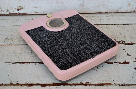 Hey, I found this really awesome Etsy listing at https://www.etsy.com/listing/238111901/vintage-pink-bathroom-scale-black-dial