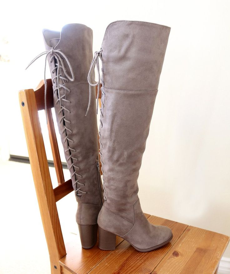 "Style : Over The Knee High Boots Heel Height : 3 1/4"" Condition : New in Box Main Color : Taupe Main Material : Man-made Material (Faux Suede) Fit : True to size Size 7 and Size 10 measurements Size 7"