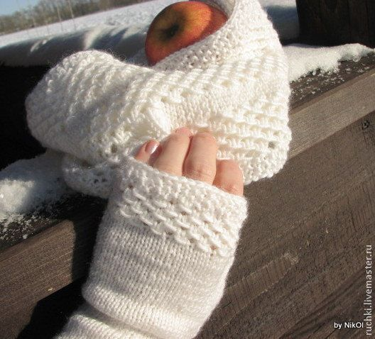 Snow white skarf-snood and mittensшарф снуд и митенки от ONiksShop