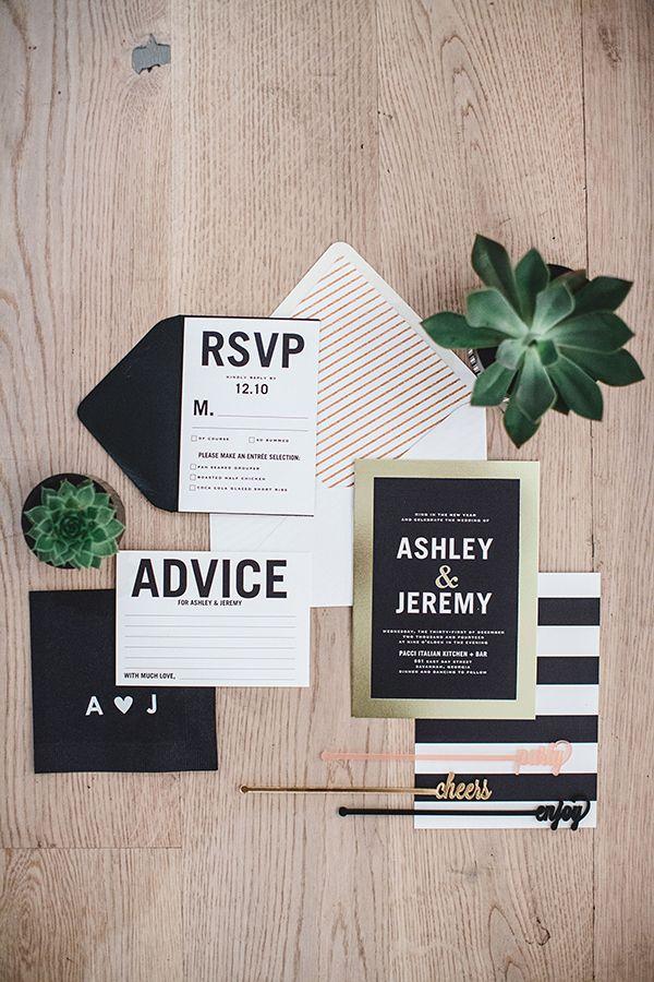 modern wedding invitations, photo by Izzy Hudgins Photography http://ruffledblog.com/a-modern-new-years-celebration #weddinginvitations #stationery